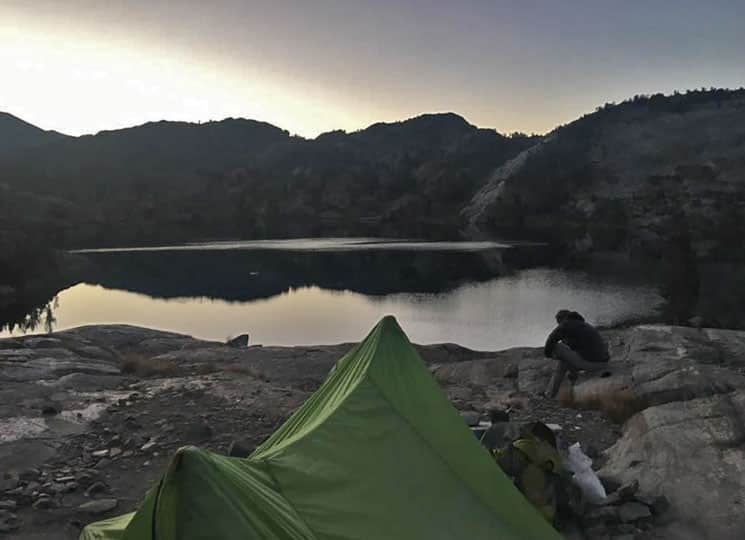 Day 20: Sunset over our tent on the John Muir Trail
