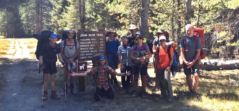 Happy walking group at the end of the John Muir Trail
