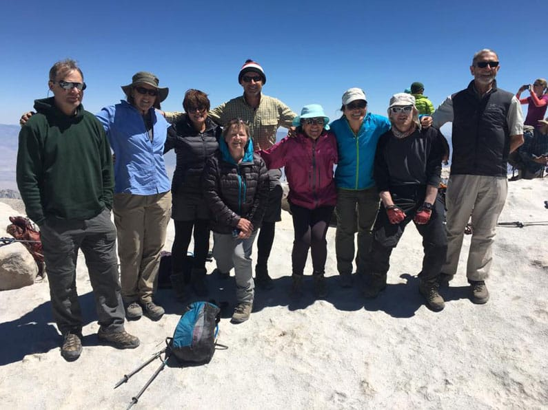 Gabrielle Young and hikers on top of Mt Whitney, Sequoia National Park