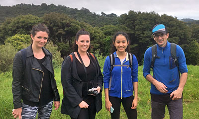 Australian journalists visiting Onetangi Forest and Bird Reserve on Waikehe Island with Terra & Tide