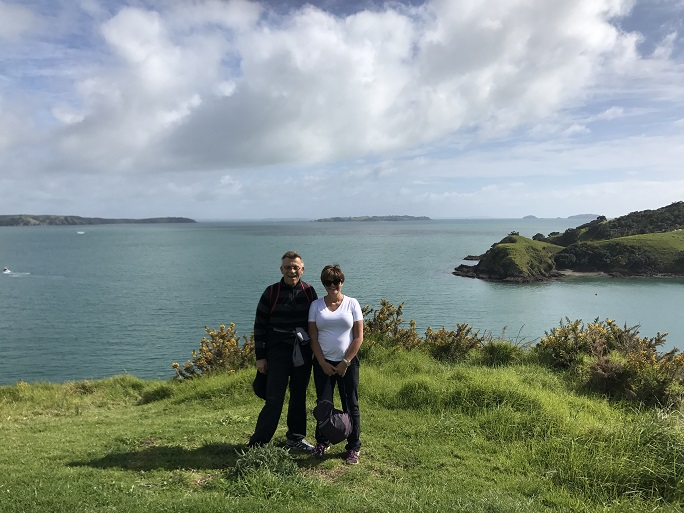 enjoying a guided walk on Waiheke Island