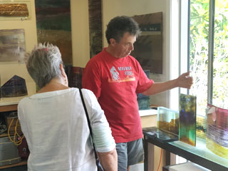 Visiting an artist's studio on Waiheke Island with Walking By Nature tours